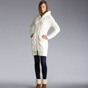 UGG shearling trim hooded sweater jacket, Size S